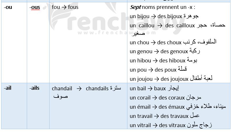Cas particuliers et exceptions du pluriel des noms et des adjectifs 2